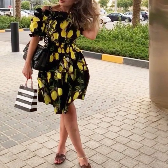 Black lemon dress