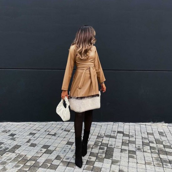 Camel leather-fur dress