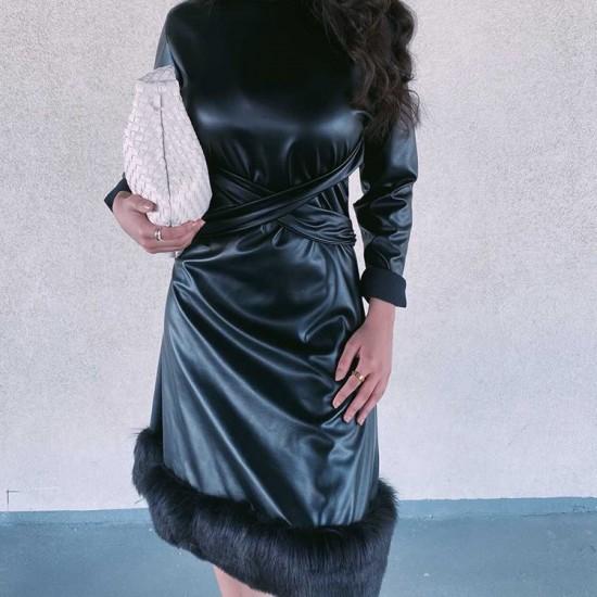 Leather-fur dress
